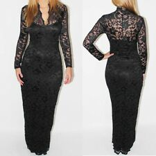 Black Lace Maxi Dress Womens V-neck Long Sleeve Full Length Prom Evening Dress