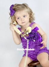 Baby Girls Purple Lace Rose Petti Rosette Crystal Romper & Headband  Peony NB-3Y