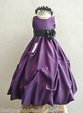PURPLE BLACK IVORY WHITE ORANGE YELLOW PARTY FLOWER GIRL DRESS 2 4 6 8 10 12 14