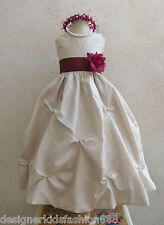 CHAMPAGNE RED DARK PINK PURPLE PAGEANT GOWN FLOWER GIRL DRESSES 2 4 6 8 10 12 14