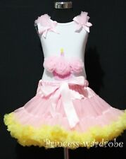 Pink Yellow Pettiskirt Skirt Tutu Dress White Top Pettitop Pink Cupcake Set 1-8Y