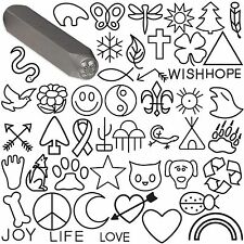 Steel Stamp Punch Ladybug Dragonfly Dog Cat Star Heart Cross Symbols Words &more