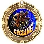 "3"" Spinning Cycling Medals w/Ribbon Any Qty Ships Flat Rate in USA $5.49"