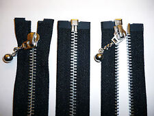 Zip, Zipper, Medium Weight, Open End, Ball & Chain Puller,Metal,YKK, Black