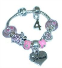 CHILDRENS/GIRLS PERSONALISED NAME/INITIAL & AGE CHARM BRACELET PINK/SILVER BOXED