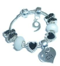 CHILDRENS/GIRLS PERSONALISED NAME/INITIAL  AGE CHARM BRACELET BLACK/SILVER BOXED