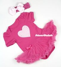 Infant Hot Pink Jumpsuit Pink Heart Print with Hot Pink Baby Dress NB-12Month