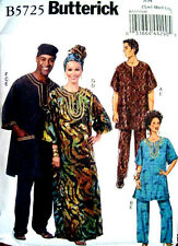Butterick 5725 Misses'/Men's Tunic, Caftan, Pants, Hat & Head Wrap Pattern
