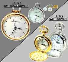 Philip Mercier Gold or Silver Tone Pocket Watch with Chain xmas Gift for Him