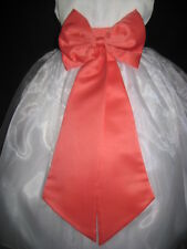 GUAVA CORAL SATIN TIE BOW SASH FOR WEDDING FLOWER GIRL DRESS S M L 2 4 6 8 10 12