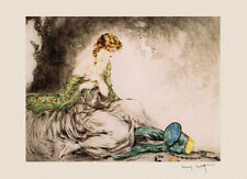 Fashion Lady Girl Peacock Shawl by Louis Icart Art Vintage Poster Repro FREE S/H