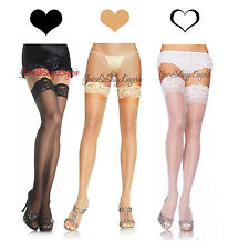 Plus Size STAY UP Stockings THIGH HIGHS Lace Top Silicone Hold-up QUEEN Size