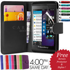 FLIP WALLET LEATHER CASE COVER FOR BLACKBERRY Z10 BB 10 FREE SCREEN PROTECTOR