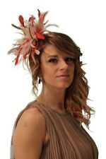 New Nude & Red Feather Fascinator Hat, Wedding, Races ANY colour available