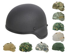 Tactical Military Airsoft Paintball MICH 2000 Fiber Helmet Black w/ Helmet Cover