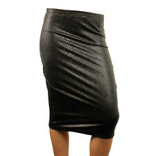 Ladies Womens Sexy Stretch Black Snake Leather Look Print Pencil Skirt Size 8-14