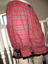 New Black Red Tartan Check lace Sissy Long Bloomers Pantaloons Lagenlook Goth