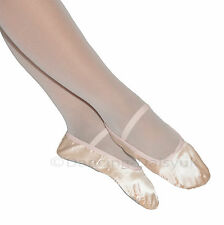 GIRLS INSPIRE PINK SATIN BALLET SHOES + BAG - PRE-SEWN ELASTICS - NEW