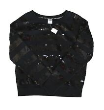 ONE BRAND NEW VICTORIA SECRET PINK BLING SEQUIN BLACK SWEATER SIZE LARGE L
