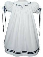 New Beautiful girls navy ribbon heirloom hand smocked bishop dress 17552