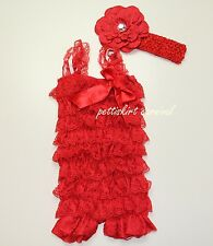 Newborn Baby Girls Red Lace Petti Rompers Straps Bow Peony Headband 3pc Set