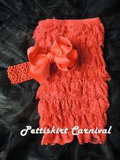 Newborn Baby Girls Red Lace Petti Rompers Huge Bow Headband 2pc Set