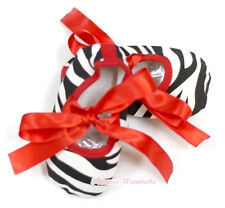 Infant Baby Toddler Hot Red Zebra Print Crib Flat Shoes Girl with Ribbon NB-18M