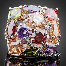 Nice Colorful Cubic Zirconium 18K Rose Gold Plated Fashion Queen Wedding Ring
