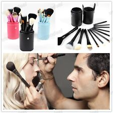 New Hot Professional Makeup Brush Set 12 Pcs Kit Leather Cup Holder Case