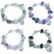 Ladies Girls Charm Sparkling Bracelet INITIAL &  MESSAGE Charm Gift BOX Present