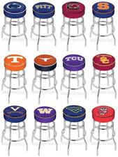 "Choose NCAA P-Z Team L7C1 Chrome Double-Ring Swivel Bar Stool w/ 4"" Cushion Seat"