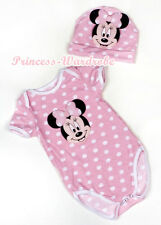 Infant Pink White Dot Pink Minnie Baby Jumpsuit Romper Hat 2pcs Set  NB-12Month