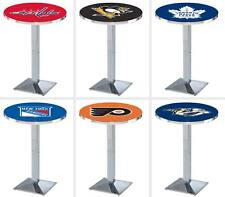 "Choose NHL N-W Team 36 - 42"" Tall L217 Chrome Square Base Pub Table - 28/36"" Top"