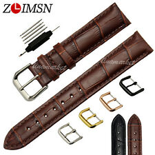 Mens Ladies Black Brown Thin Genuine Leather Watch Band Gold Plated Strap Buckle