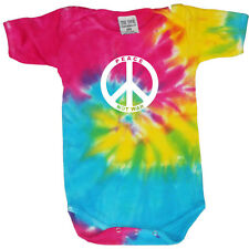 Tie Dye infant baby t-shirt tee shirt one piece romper snap suit cute Peace Sign