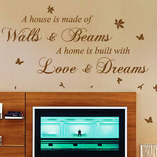 A House Is Made Of  Bricks and Beams Wall Art Quote Stickers, Wall Decals