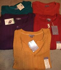 NWT Laura Scott button cable cotton cardigan Red Orange Yellow Teal Purple 1X 3X