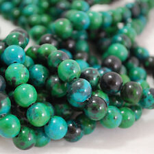 "16"" Semi-Precious Gemstone Azurite Chrysocolla Round Beads 4mm - 12mm"