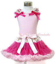 Pink Pettitop Rose Ruffle Hot Pink Bow Rose Waist Hot Light Pink Pettiskirt 1-8Y