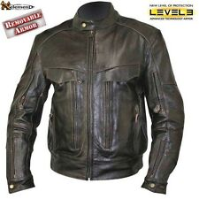 Xelement Bandit Retro Brown Buffalo Leather Cruiser Biker Jacket Level 3 Armor
