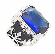 Men's Dragon Claw Sapphire Blue CZ Stainless Steel Ring US Size 8,9,10,11,12,13,