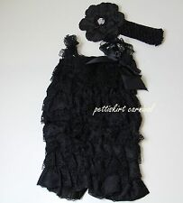Newborn Baby Girls Black Lace Petti Rompers Straps Bow Peony Headband 3pc Set