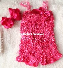 Baby White Polka Dots Hot Pink Chiffon Lace Petti Rompers Bow Headband 2pc NB-3Y