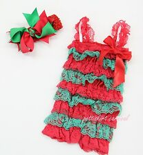 Newborn Baby Girls Red Green Lace Petti Posh Rompers Straps Bow Headband 3pc Set