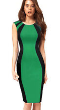 Women Colorblock Formal Work Business Office Party OL Bodycon Pencil Dress E254