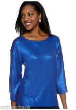 Jewels Metallic Shiny Foil Knit Top Holiday Sparkle Sweater kimono sleeve NEW