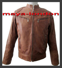 New Urban Designer Quiled Sleeve Mens Tan & Black Leather Jacket Size M, L & XL