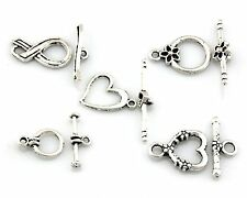 Wholesale 50 Sets Antique Silver Tone Toggle Clasps Charm Jewelry Findings Y39