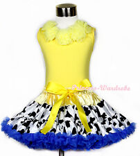 Yellow Tank Top Yellow Rosettes and Yellow Milk Cow Girl Pettiskirt Set 1-8Y