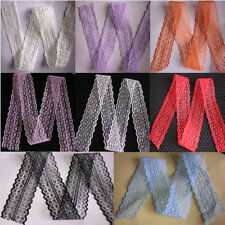 10,20,50,100 Yard Embroidered Net Lace Trim Ribbon 8 Color Select